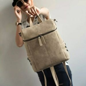 SALE $40-Beige Vegan Leather Backpack